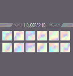 Set holographic gradient templates vector