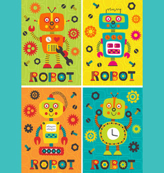 Set of posters with robots part 1 vector
