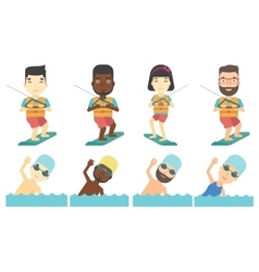 Set of water sport characters vector