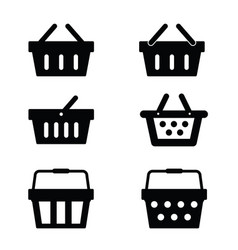 shopping basket set in black color vector image