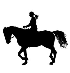 Silhouette of horse and jockey vector