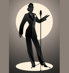 silhouette woman wearing hat and male clothes vector image
