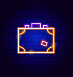 Suitcase neon sign vector