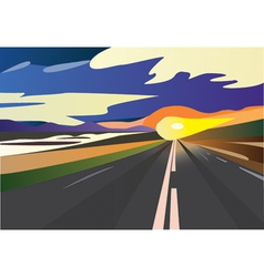 Sunset speed road vector