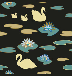 swan lake seamless repeat pattern vector image