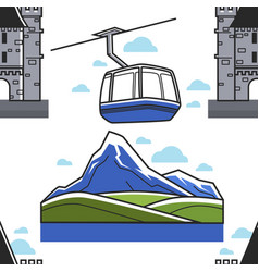 Swiss landscape castle and funicular seamless vector