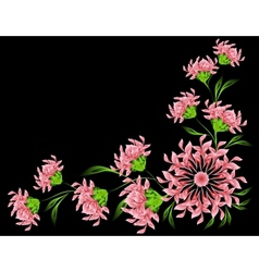 The pattern of red flowers and leaves on black vector image