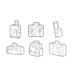 travel bag icon set outline style vector image