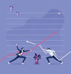 Two businessman keep arrows against each vector