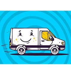 Van with smile free and fast delivery to vector