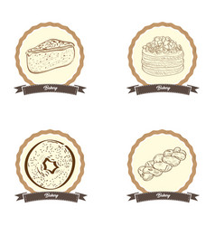 vintage bakery products vector image