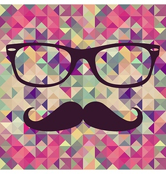 Vintage hipster face geometric pattern vector image