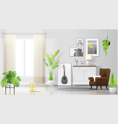 Warm and bright living room background vector
