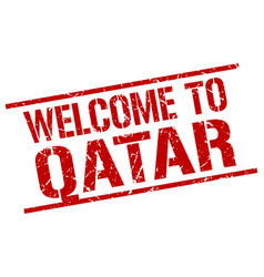 Welcome to qatar stamp vector