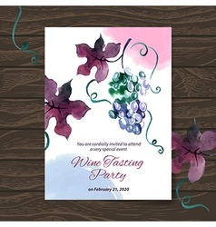 Wine tasting party card design with watercolor vector
