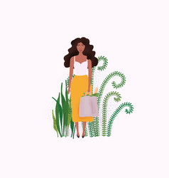 Woman holds eco-bag with greens eco lifestyle vector