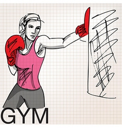 Woman with boxing gloves at workout at gym vector