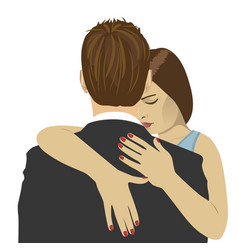 Young woman hugs the man with sad expression vector