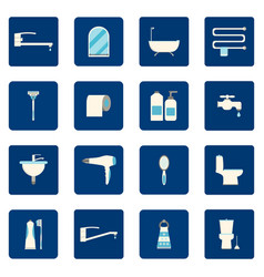 16 bathroom icons set vector image vector image
