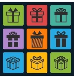 Black gift box icons set vector