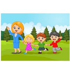 Cartoon happy family in the forest vector image vector image