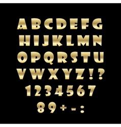 English golden alphabet on a black background vector image