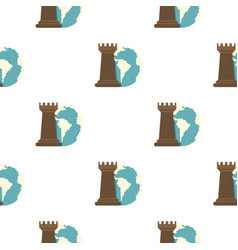globe earth and chess rook pattern flat vector image vector image