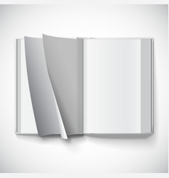 Blank open book turn the pages with gradient mesh vector image