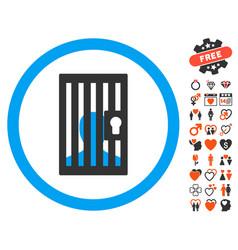 closed prisoner icon with lovely bonus vector image