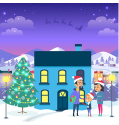 happy family near urban house and christmas tree vector image vector image