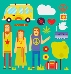 hippie culture style characters and symbols vector image vector image