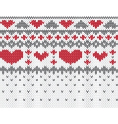 knitted pattern with hearts vector image vector image