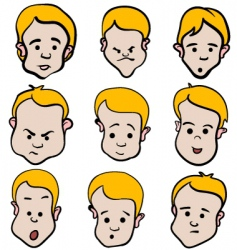 little boy emotion cartoon collection vector image vector image