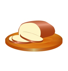 melted smoked cheese on the board vector image vector image