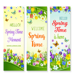 spring flowers banners with greeting quotes vector image