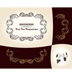 grapes vintage frame baroque ancient vector image