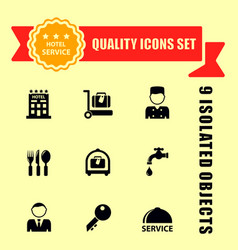 hotel and travel icons with red tape vector image