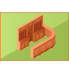 Reception hotel table flat isometric vector image