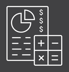 Budget planing line icon business and finance vector