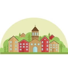 Calm village in flat simple style Horizontal vector image