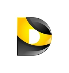 Creative yellow and black symbol letter D for your vector image vector image