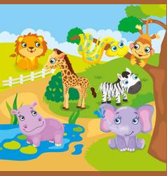 Cute Cartoon Zoo Animals vector image vector image