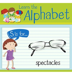 Flashcard letter s is for spectacles vector