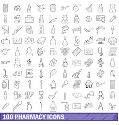 100 pharmacy icons set outline style vector