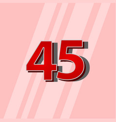 45 years anniversary red elegant number template vector