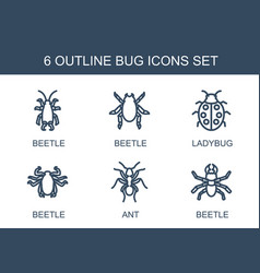 6 bug icons vector