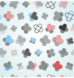 Abstract hearts and crosses seamless pattern vector