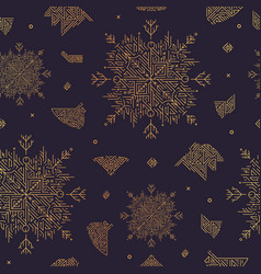 abstract snowflake artdeco seamless pattern vector image
