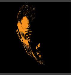African man portrait silhouette in contrast vector