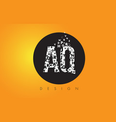 Aq a q logo made of small letters with black vector